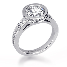 Custom Diamond Halo Bezel Engagement Ring: (/images/Items/1077.jpg)
