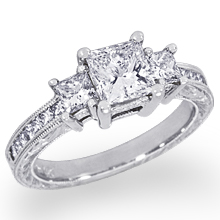 Custom Engraved Three Princess-Cut Engagement Ring: (/images/Items/1102.jpg)
