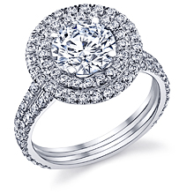 Double Halo Split Shank Engagement Ring: (/images/Items/1104.jpg) engagement ring 