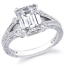 Deco Split Shank Emerald Cut Engagement Ring: (/images/Items/1107.jpg)