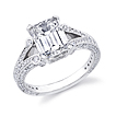 Deco Split Shank Emerald Cut Engagement Ring