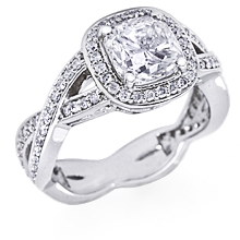 Custom Braided Pavé Halo Engagement Ring: (/images/Items/1125.jpg) Cushion cut