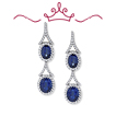 Red Carpet - Bacall Blue and White Earrings