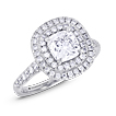 Elegant Double Halo Cushion Engagement Ring