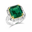Custom Vintage styled Emerald and Baguette E-Ring