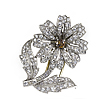 Vintage Platinum and Diamond Art Nouveau Floral Brooch