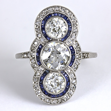 Vintage Art Deco Three-Stone Diamond & Sapphire Ring: (/images/Items/1173.jpg) three stone ring 