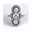 Vintage Art Deco Three-Stone Diamond & Sapphire Ring