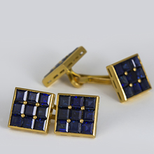 Vintage French 18K Yellow Gold and Sapphire Cufflinks: (/images/Items/1175.jpg) cufflinks