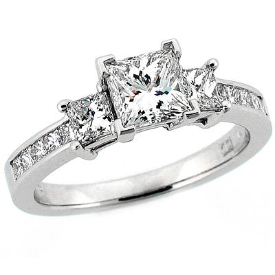 princess cut 3 stone engagement ring imagesitems282 - Princess Cut Diamond Wedding Ring
