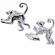 Rotenier Swing Monkey Cufflinks: (/images/Items/371.jpg) monkey,banana,silver,cufflink,engagement rings,diamond engagement rings