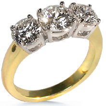 3-Stone Classic 18K 2-Tone Anniversary Ring: (/images/Items/41.jpg) past,present,future,three stone ring,ring,engagement,anniversary,weeding ring,engagement rin,engagement rings,diamond engagement rings