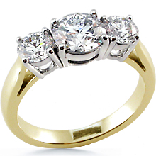 Three Stone Cathedral 2-tone Anniversary Ring: (/images/Items/48.jpg) past,present,future,three stone ring,ring,engagement,anniversary,wedding rings,engagement ri,engagement rings,diamond engagement rings