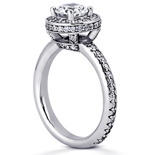 Pavé Halo Engagement Ring: (/images/Items/ENR7297_Angle.jpg) Gold Platinum Diamond Ring ,engagement rings,diamond engagement rings