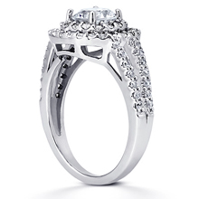 Pavé Halo Split-Shank Engagement Ring: (/images/Items/ENR8286_Angle.jpg) Gold Platinum Diamond Ring ,engagement rings,diamond engagement rings