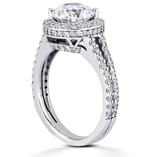 Pavé Halo Split-Shank Engagement Ring: (/images/Items/ENR8675_Angle.jpg) Gold Platinum Diamond Ring ,engagement rings,diamond engagement rings